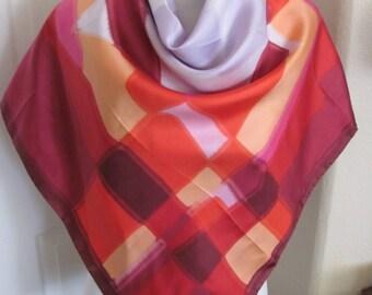 """Scarf Beautiful Red Super Soft Silk Scarf // 36"""" Inch 92cm Square"""