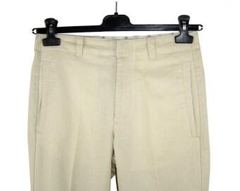ON SALE Vintage Womens Cotton Linen Beige Sand Pants Size 30 Lagerfeld Flap Pockets Karl Lagerfield