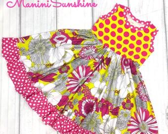 All Knit Yellow/ Pink Twirl Dress