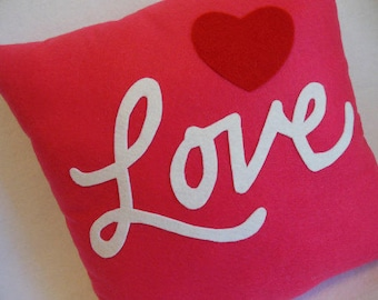 "LOVE Appliqued Decorative Pillow 16"" x 16""  PINK * Heart * I Love You Pillow"