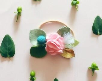 Felt Flower Headband, Valentines Day Floral Crown, Children Photo Prop, BABY PINK ROSE