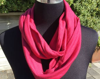 Merino wool infinity scarf neck warmer cowl circle scarf in pink