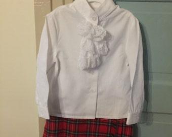 Girls size 2 red plaid skirt and ruffle blouse scotland kilt