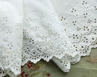 "1 yard+ Antique cotton edwardian lace 8"" wide whitework dress trim  wedding dress flapper intricate pattern"