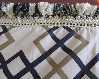 Table Runner #20  Burlap and Cotton Table Runner, Table Runners, Table Linen, Geometric Design Table Runner, Table Cloth, Couch Throw, Chest