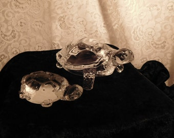 Vintage Crystal Turtles Mother and Baby