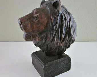 Vintage Hand Carved Brown Bear Bust - Carved Bear Bookend - Man Cave - Hunting Lodge - Bear Figurine, Statue  - Woodland Decor - Man Gift