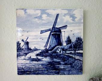 Vintage Delft Blauw Tile, Wall Hanging or Trivet - Home Decor - Delftware Pottery Tile -Delft Blue Tile  - Collectible - Bobann23 Kitchen