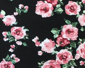 Black Pink Burgundy and Green Floral Rayon Spandex Jersey Knit Fabric, 1 Yard