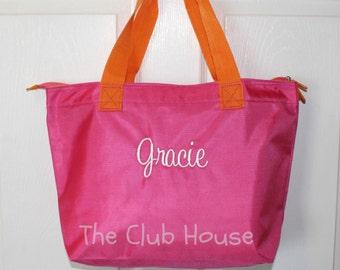Pink Tote Bag, Zipper Closure Personalized Diaper Bag, Custom Embroidery Daycare Bag, Travel Tote Bag