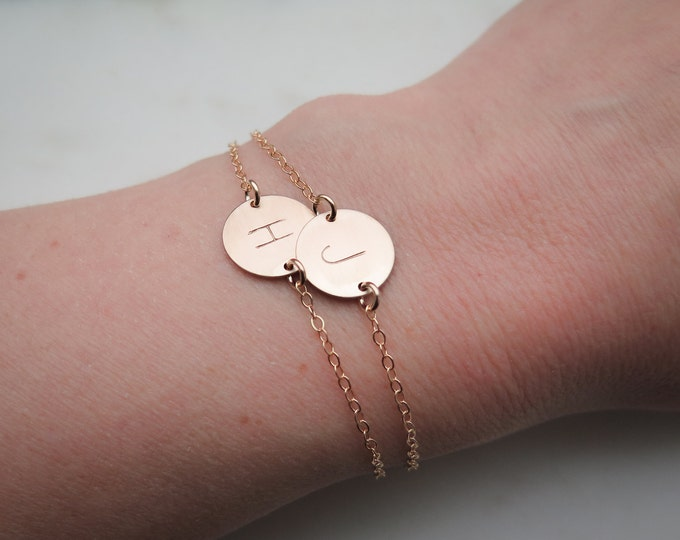 Initial Bracelet - Personalized Dainty 14k Gold Fill Hand Stamped by Betsy Farmer Designs - Sterling Silver and 14k Rose Gold Fill
