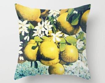 Spring Pillow Cover 18x18, Spring Decor, Floral Farmhouse Pillow, Vintage Botanical Art, Lemons Pillow, Oranges Pillow, Farmhouse Kitchen
