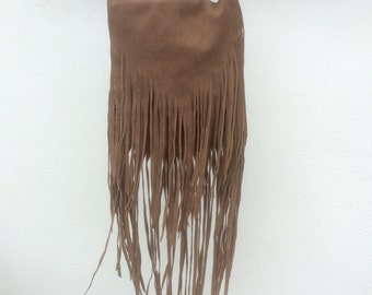 Brown Suede Bag, Suede Fringe Bag, Suede Tassel Bag, Natural Leather Fringe Bag, Brown Cross Body or Shoulder Bag