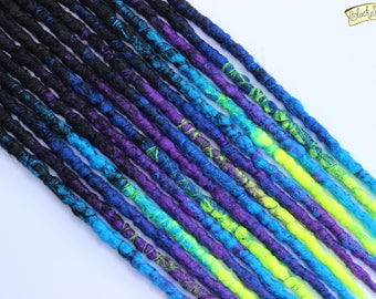 Black, Blue, Purple and Yellow Triple Transitional SE x16 Crochet Synthetic Dreads