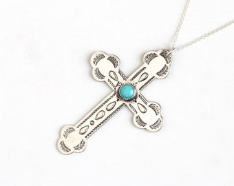 Vintage Sterling Silver Large Turquoise Cross Necklace - Vintage Retro Christian Crucifix Catholic Religious Bell Trading Blue Gem Jewelry