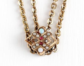 Antique Gold Filled Opal, Simulated Ruby, & Seed Pearl Slide Charm Necklace - Vintage Victorian Fob Pocket Watch Chain Choker Jewelry