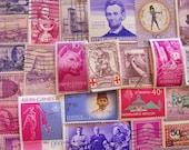 Shades of Purple 100 Vintage Purple Postage Stamps Plum Magenta Lilac Lavender Violet Fuschia Grape Scrapbooking US Worldwide Philately 2