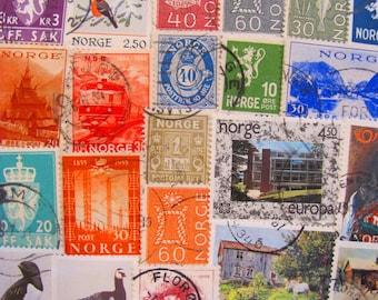 My Way or Norway 50 Vintage Norwegian Postage Stamps Scandinavian Kongeriket Norge Noreg Oslo Nordic Viking Telemark Worldwide Philately