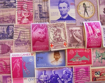 Shades of Purple 100 Vintage Purple Postage Stamps Plum Magenta Lilac Lavender Violet Fuschia Grape Scrapbooking US Worldwide Philately 2