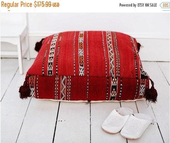 Autumn Halloween 30% Cushion Pouf Sale// Red Kilim Moroccan Floor Cushion -home gifts, wedding gifts, anniversary gifts, pouf, cushion