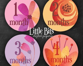 Monthly Baby Labels - You Print - PDF Files - Instant Download