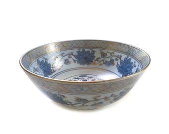 Vintage Andrea by Sadek Asian Bowl Handpainted Sky Blue and Gold Swan and Lotus Blossoms 7945