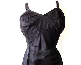 Ro Jene Lingerie 1940s Acetate Slip in Black