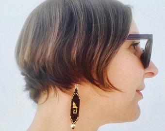 GOLD and Black Beaded Earrings, Greca Symbol from Oaxaca, Mexico