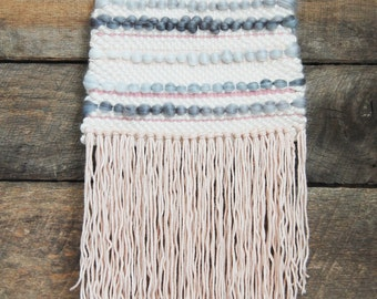 Pink and Gray Woven Wall Hanging / Tapestry Weaving