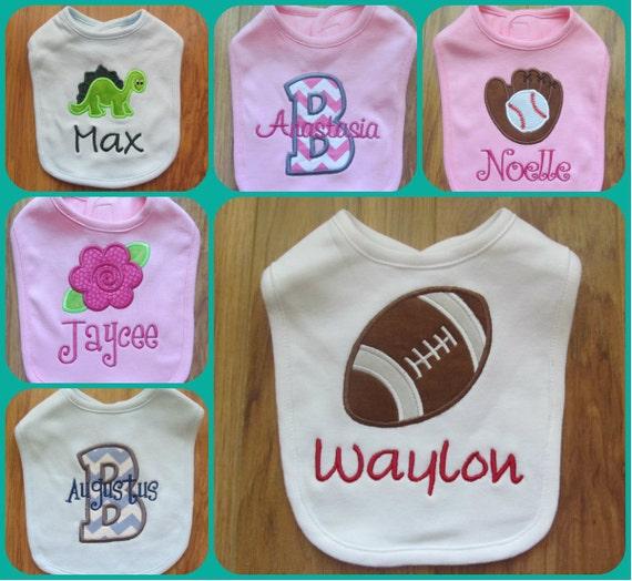 Personalized Baby Bib Monogram Baby Bib Custom Baby Bib Baby Bibs Monogram Football Monogram Baseball Princess Crown Bib Girl Bibs Boy Bibs