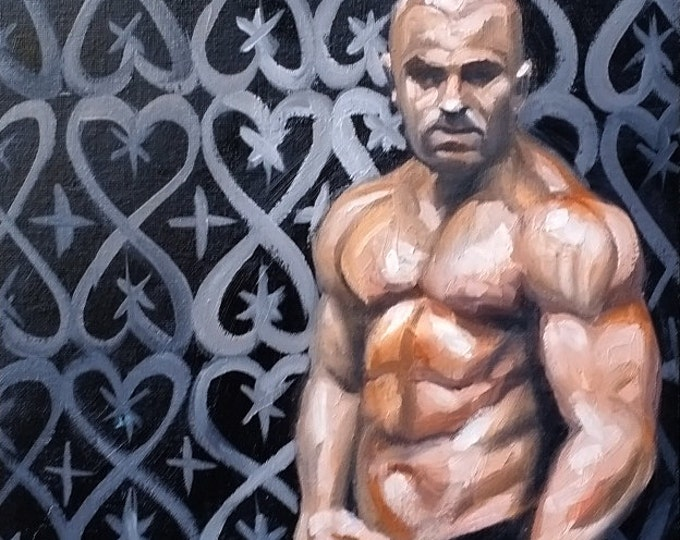 Rough Guy,  oil on canvas panel 11x14 inches by Kenney Mencher (gay art)