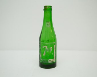 Vintage 1950s 7up Glass Bottle - The 'Fresh Up' Drink