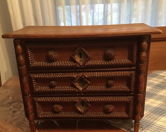 Antique French Country Tramp Art Chest of Drawers Toile de Jouy Lining