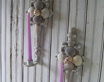 Vintage Re-styled Up-cycled Metal Candle Sconces Shabby Chipy White Fauxe Finish Elegant Beach Cottage  Decor Sea Shells German Glass