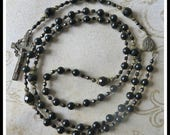 Handmade Catholic Rosary in Black Onyx Gemstone in Solid Bronze