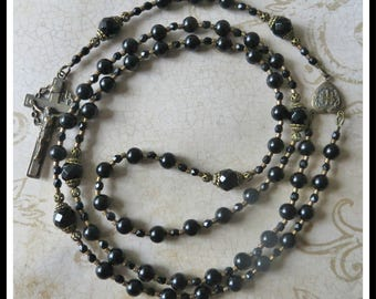 6mm Black Onyx Rosary for Men Handmade in Solid Bronze, Catholic Prayer Beads