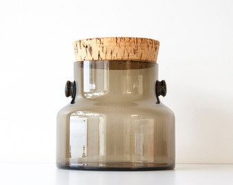 Vintage 1970s Takahashi Modern Smoked Glass & Cork Storage Container