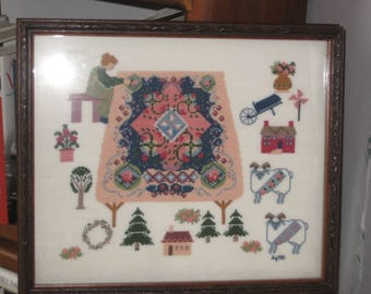 The Quilter Completed Vanessa-Ann Counted Cross Stitch 1989 Professionally Framed Acid Free on 32-Count Linen DMC Floss Signed