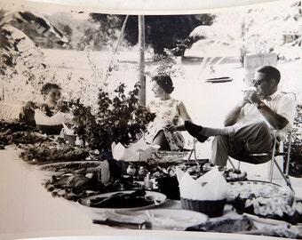 1960s Photo - Cocktails in British Guiana - Large Black and White Vintage Photo - Mad Men Era