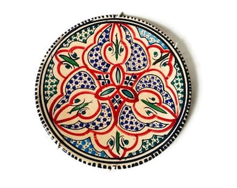 Vintage Tunisian Hand Painted Plate Wall Hanging - Tunisia Ceramic Folk Art Pottery Display Plate with Geometric  Pattern