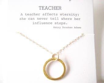 Gift for Your Teacher, Teacher Mentor Gift, Teacher Retirement Gift, Professor Gift, Eternity Necklace, Karma Necklace
