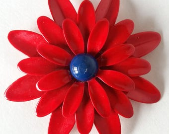 Flower Pin Brooch Vintage Enamel Red & Blue