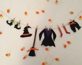 Witch Clothesline Halloween Decoration