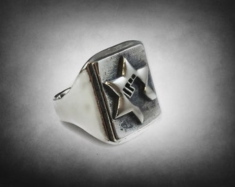 Ezi Zino the Jews Power Star of David Cahana Chai Signet ring solid sterling silver 925
