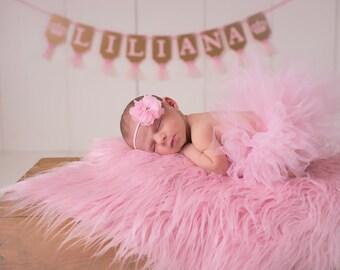 Pale pink baby headband, baby headband, mini flower headband, newborn headband, pearl rhinestone headband, light pink headband