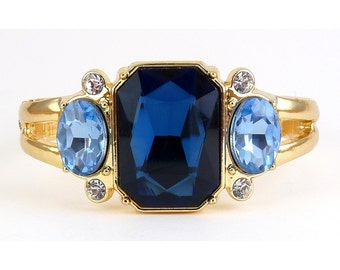 Clamper Bracelet with Lg Sapphire Blue Crystal & Blue Topaz Crystal Side Stones