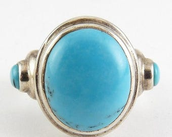Sterling Silver & 3 Turquoise Cabochons Ring - Sz. 8