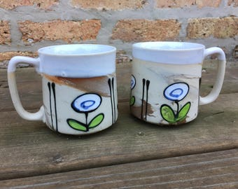 Natural glazed and unglazed set of 2 mugs marbled white flower design beverage mug 1970's coffee cup white brown tan caramel cozy warm fun