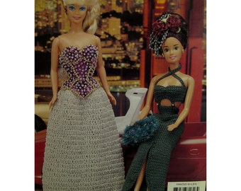 "Crochet Barbie Evening Dresses Pattern, Beaded, Fashion Doll, Annies Attic No. 871616 Size: Fits 11.5"" 29cm Dolls"