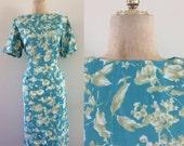 SALE 1960's Turquoise Floral Print Acetate Wiggle Dress w/ Metal Back Zipper